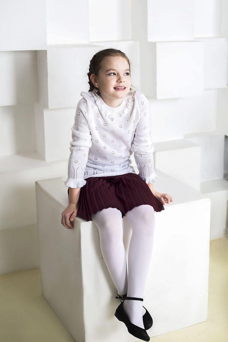 Белый ажурный джемпер для девочки в Челябинске, Магнитогорске, Учалах, Уфе, Белорецке