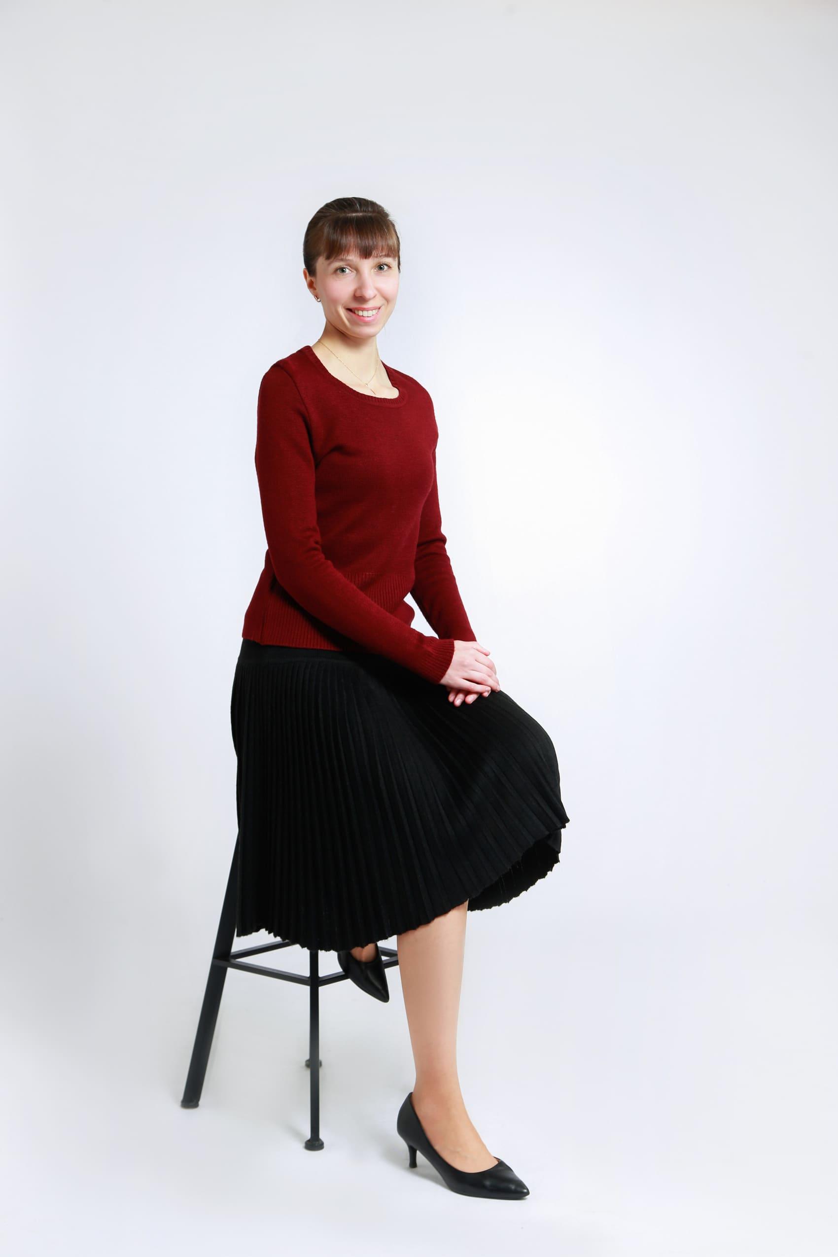 Трикотажная юбка плисе для учителя